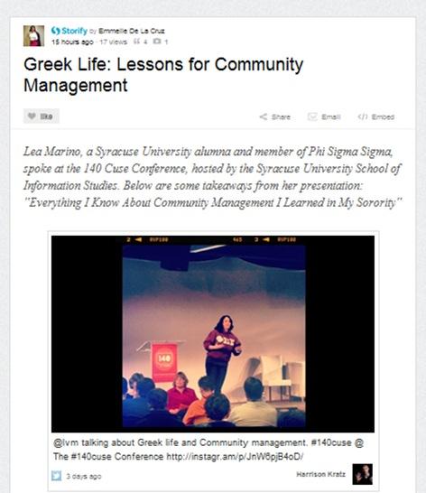 Lea Marino speaking at #140Cuse on Community Management